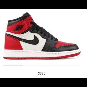 """067bb39c71b886 Air Jordan Shoes - """"Bred Toe"""" Air Jordan 1 Retro Gradeschool(EUC)"""